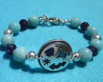 Sterling Silver Southwestern Inspired Beaded Bracelet