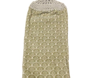 Gray Hand Towel With Light Gray Crocheted Top