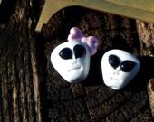 Alien Gray's, Lampwork Bead Pair, Simply Lampwork by Nancy Gant, SRA G55