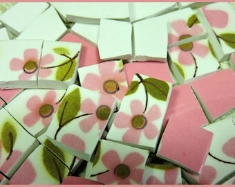 Mosaic Tiles - PiNK PeTaLS -  145 ViNTaGE MiKaSA Mosaic Tiles