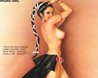 "Original Vargas Girl Pin-Up July 1971 Vintage Playboy Nude Mature Art ""Since I've been wearing copper bracelets, I feel much better"""