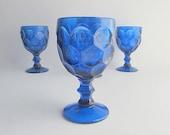 Vintage Blue Glasses, Drinking Glasses, Blue Goblets, Stemmed Blue Drinking Glasses, Bar Glasses, Blue Bareware Set of 4