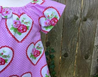 Girl Valentine dress / Valentine Clothing for Baby / Toddler / Girl  peasant style dress / Valentine clothing
