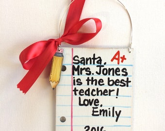 Teacher Ornament - Student Teacher Ornament - Letter Ornament - Student - Personalized Wood Ornament - Teacher gift - Painted Ornament