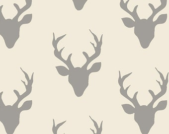 Buck Forest Silver - Hello Bear - Art Gallery Fabrics - Bonnie Christine - HBR-4434-2 - Woodland Cotton Quilting Fabric - Deer Antlers Gray