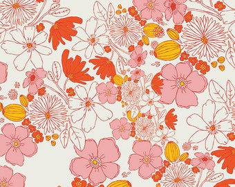 Leas Bloom Blush - Meadow - Art Gallery Fabrics - Leah Duncan - MW-80023 - Flowers Floral Pink Red