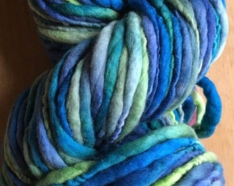 "Handspun ""Blue-Green Algae"" Hand-dyed Thick & Thin Merino wool 114 Yards 8 ounces"