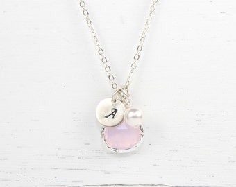 Personalized October Birthstone Silver Necklace, Pink Opal Necklace, October Birthday Jewelry, Personalized Silver Necklace #869
