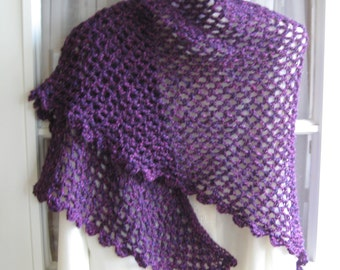 Rose, Blue, and Black Variegated Crocheted Triangle Shawl with Shell Stitch Edging