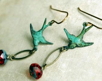 Bird Earrings, Flight Earrings, Dangle Earrings, Verdigris Brass Earrings, Green Brass Patina Earrings, Red and Green