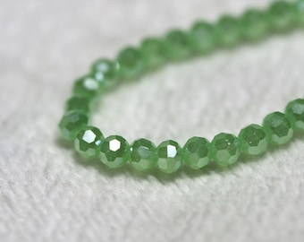 25 pcs. 3mm. Light Green Faceted Round Chinese Glass Crystal