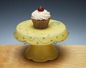 Buttercup yellow Cupcake Stand w. Sky blue dots, Victorian modern