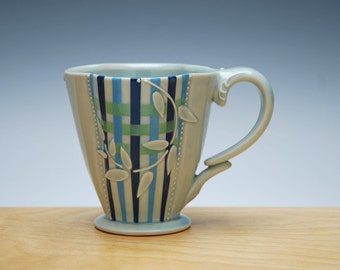 Plaid Deluxe clover cup in Glossy Frost w. Leaves and Navy, Sky blue, & Green Stripes and Polka dot, Victorian mod
