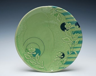 Spring Green Large handmade plate w. Floral & Sky blue stripes, Victorian modern, Serving / dinnerware