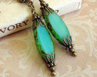 Green Victorian Style Earrings with Czech Glass Elliptical Bead
