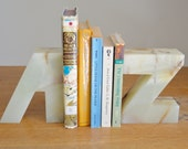 Large A and Z Marble Bookends
