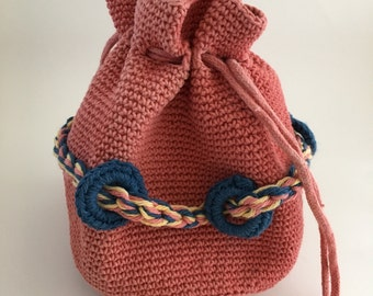 Hand Dyed and Embellished Crochet Drawstring Purse Natural Madder