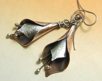 Lily Earrings, Long Exotic Flower Earrings, Mixed Metal Earrings, Sterling Silver And Copper Earrings, Artisan Earrings, Two Tone Earrings
