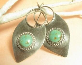 Large Turquoise Earrings, Large Sterling Silver Earrings, Blue Lotus Petal Earrings Statement Earrings, Metalsmith Earrings, Tribal Earrings