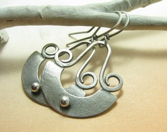 Sterling Silver Earrings, Silver Dangle Earrings, Silversmith Earrings, Contemporary Earrings Argentium Earrings, Metalwork Artisan Earrings