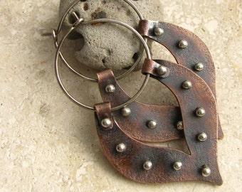 Large Tribal Earrings, Lotus Petal Hoops, Copper Hoop Earrings, Sterling Silver And Copper Two Tone Mixed Metal Earrings, Metalsmith Jewelry