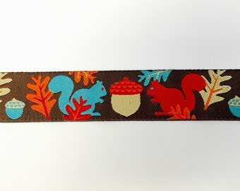 "Bright Squirrels on Brown Woven Ribbon - Autumn Ribbon - 7/8"" by the YARD"