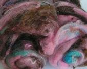DiNGBaTtS Art Fiber Batts 2 oz Pink Turquoise Brown PHAT FIBER FEATURE Spin Felt Craft Kooky Wacky Krazy Wild Everything Art Fiber Fun