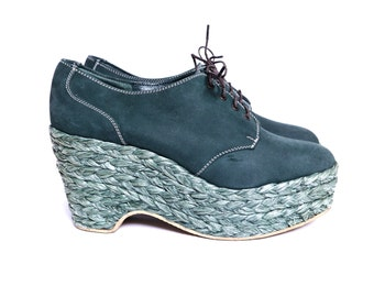 Shellys of London platform Oxford shoes green nubuck leather size 9