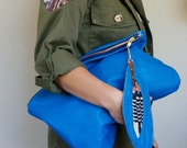 NEW XL Oxford Single/// Bright Blue Leather ///Fold Over Clutch/// Pouch