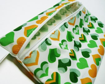 "9"" x 5.75"" Wet Bag Pouch - Green Yellow Hearts PUL - Water Resistant Zipper Pouch for Pad Storage - Travel Bag for Cloth Pads PUL Zipper Bag"