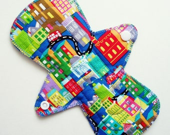 "8"" Flared Cotton Regular Cloth Menstrual Pad, City Buildings Cars Roads Map, Blue Green Red Yellow, Cloth Sanpro, Contoured Incontinence Pad"