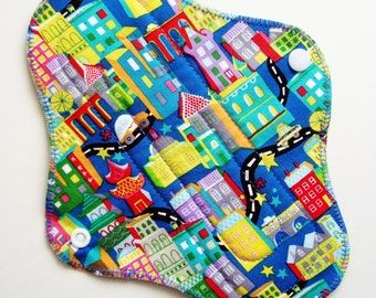 "9"" Cotton Regular Absorbency Cloth Menstrual Pad - City Roads Cars Houses Landmarks - Washable Reusable Pad - Incontinence Pad Cloth Sanpro"