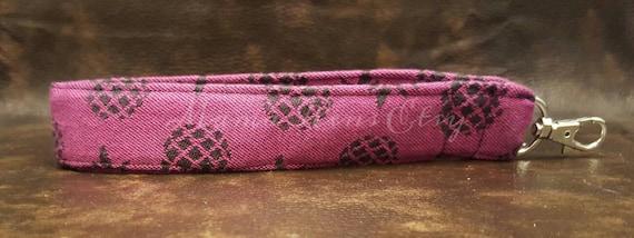 READY To SHIP Tula Ananas Tart wrap scrap Pink Wristlet Keychain