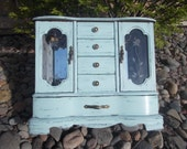 SALE- Painted Jewelry Box Chest Armoire Large  Light Mint Green double necklace hangers ring holder