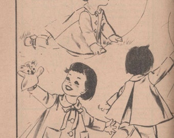 1950s Toddlers Sunday Coat and Suspender Pants Advance 8788 Vintage Sewing Pattern Size 2 UNCUT No Envelope