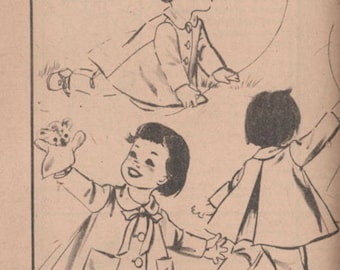Vintage 1950s Toddlers Sunday Coat and Suspender Pants Sewing Pattern Advance 8788 50s Children's Pattern Size 2 UNCUT No Envelope