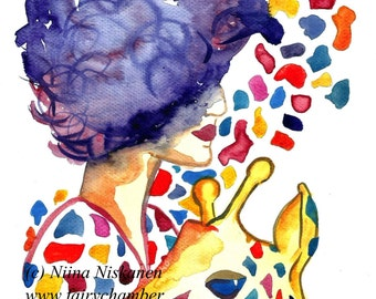 Spot On Style Original Fashion Illustration Watercolor Woman Giraffe Pattern Hair Stylish Colorful Fashion Art Painting by Niina Niskanen