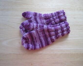 Child Wool Mittens Small Hand Knit Dark Lavender Variegated