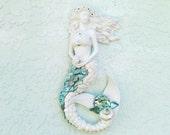 Reserved for Nicole W Only! Mermaid Wall Art, Mermaid Seashell Sculpture, Mermaid Figurine Wall Hanging, Mermaid Statue for Wall,Mermaid