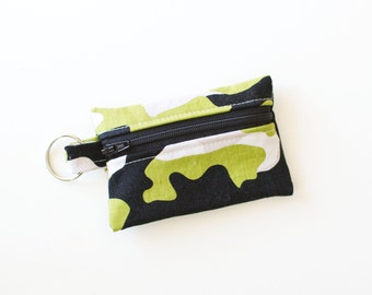 Small Zipper Pouch, Ear Bud Holder, Credit Card Case, Military Max Camoflauge