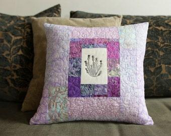 SALE - Purple Patchwork Quilted Pillow Handprinted Lavender block Modern Home Decor 15x15 Toss Pillow Fiber Art Quilted Pillow