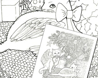 Christmas Kitties Digital Coloring Page for adults Digi Stamp - for scrapbooking or cards or coloring