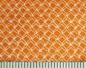 Fish Net white on orange FABRIC Kristen Berger Fishline Fabric for Maywood Studio MAS8858-O