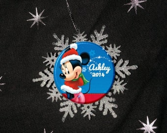 "Personalized Snowflake Disney Minnie Mouse Holiday Image Christmas 2.25"" Ornament"