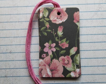 25 pink roses on black patterned paper over chipboard gift tags