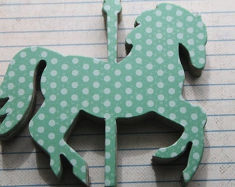 8 Carousel HORSE polka dot turquoise green and aqua dot chipboard covered die cuts 4 inches  x 3 3/8 inches set [8CA]