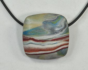 Faux Watercolor Faux Stone Polymer Clay Pendant Necklace N15-38