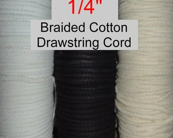 """20 YARDS - 1/4"""" - Cotton DRAWSTRING Cord, 1/4 inch - White, Ivory or Black - no core cord"""