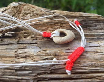 String Necklace With Natural Holey Stone -  Holey / Holy / Hag / Odin Fairy Dream Stone Rock And  String