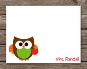 Teacher Owl Stationery - Stationary - Notecards - Note Cards - Apple - Personalized - Set of 8
